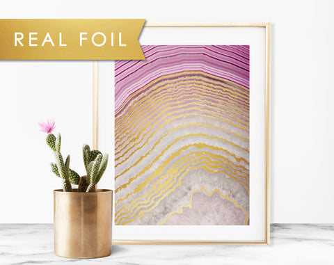 Purple Agate Real Foil Art Print