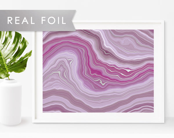 Purple Agate Waves Real Gold Foil Art Print