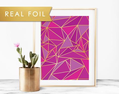 Purple Mosaic Real Foil Art Print