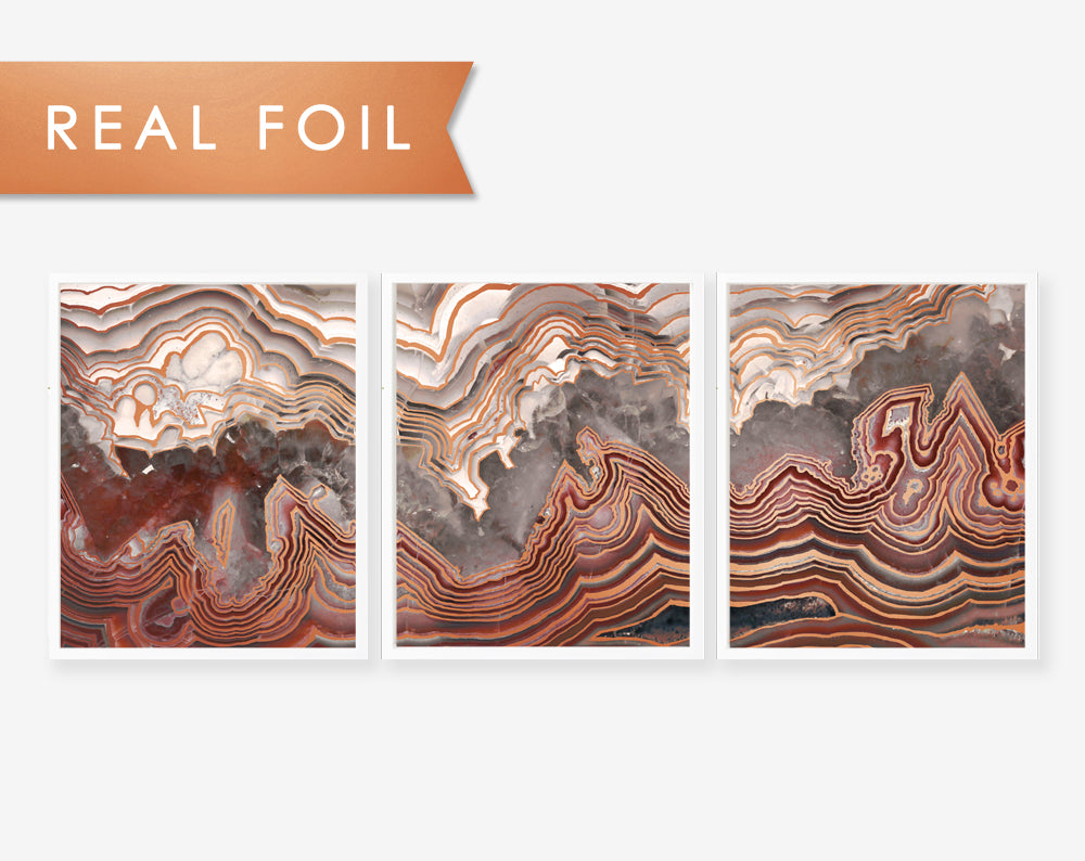 Set of 3 Panels Red Agate Slab- Art Print with Copper Foil Geode Art 3 Panels