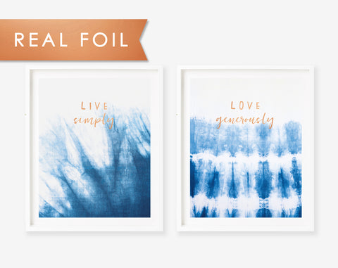 Set of 2 Indigo Shibori Live Simply & Love Generously Copper Foil Art Print