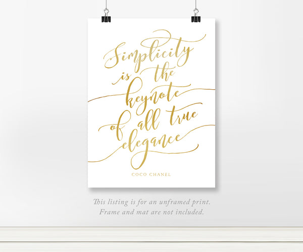 Simplicity is the keynote of all true elegance Coco Chanel quote on Solid Background with Real Foil Chanel Print 8x10 11x14 A3