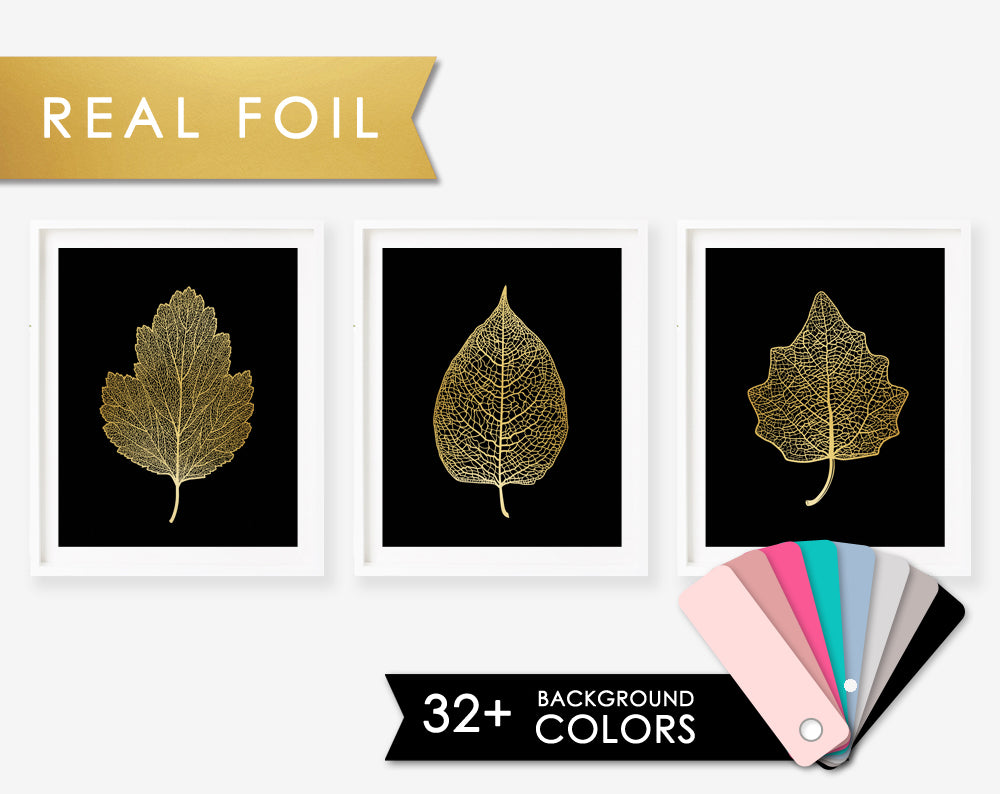 Set of 3 Gold Foil Skeleton Leaf Veins on Black Art Print Poster