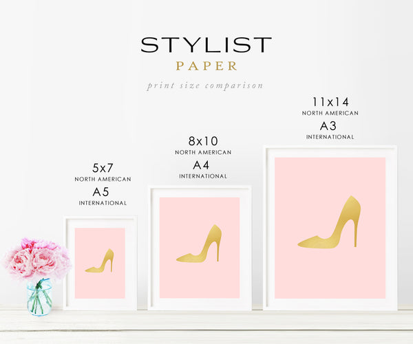 Stiletto Heel on Any Color Background Gold Foil