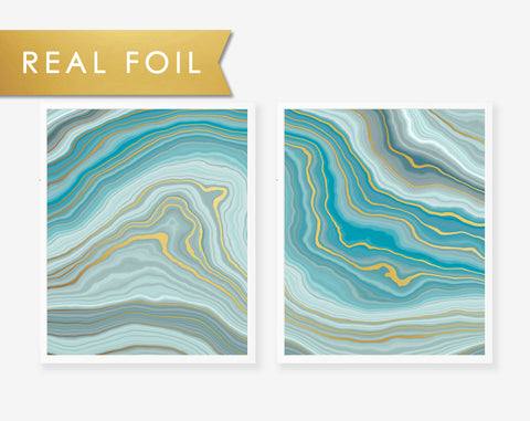 Teal Agate Waves Foil Art Print 2 Panels