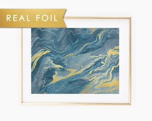 Teal Italian Marble Real Foil Wall Art