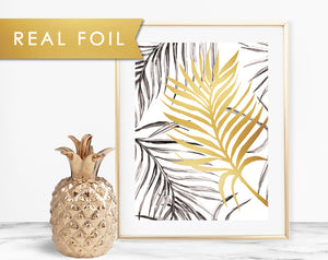 Tropical Leaf Real Foil Wall Art