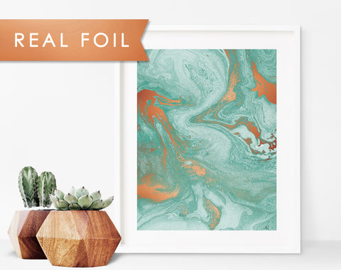 Verdigris Copper Foil Marble Art Print - Oxidized Copper Patina Look