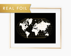 Black and White World Map Real Gold Foil Map Lines