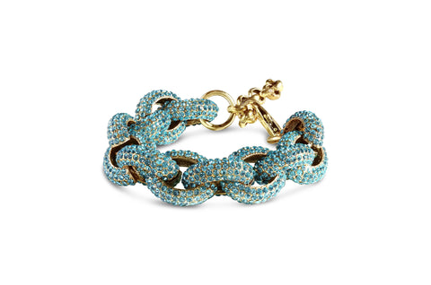 Pave Chain Bracelet in Aqua Blue