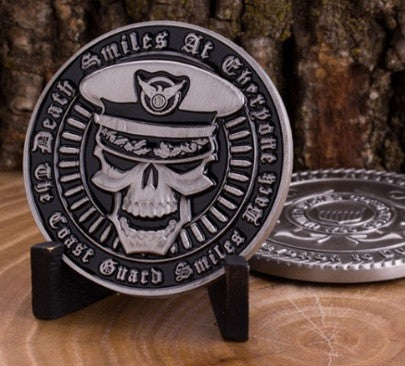 Death Smiles at Everyone...The Coast Guard Smiles Back Challenge Coin