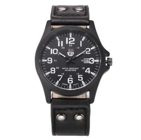 SOKI Military Leather Watch - topnotchloot  - 3