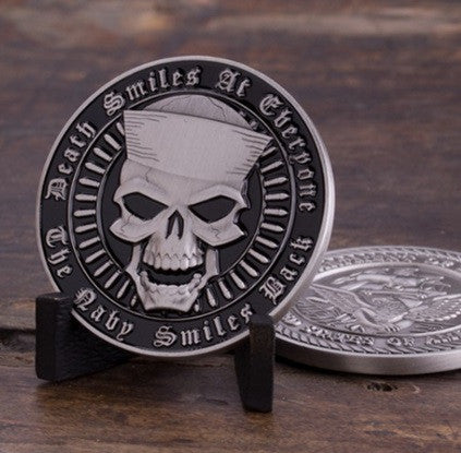 Death Smiles at Everyone...The Navy Smiles Back Challenge Coin