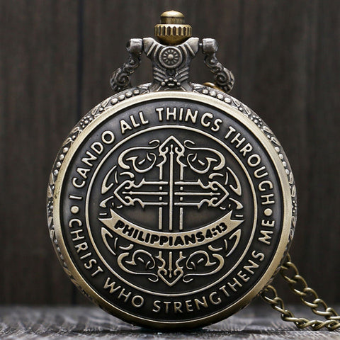 Antique Bronze Philippians 4:13 Pocket Watch - topnotchloot  - 1