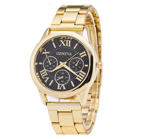 Men's Gold Geneva Luxury Watch