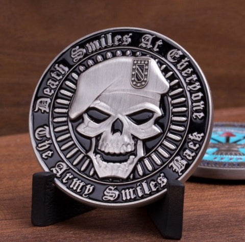 Death Smiles at Everyone...The Army Smiles Back Challenge Coin