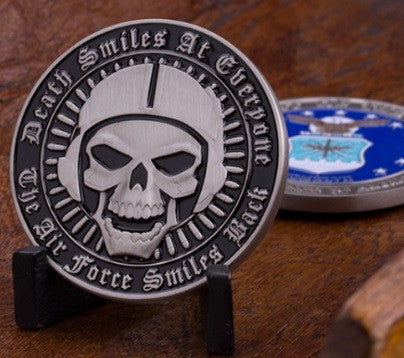 Death Smiles at Everyone...The Air Force Smiles Back Challenge Coin - topnotchloot  - 1