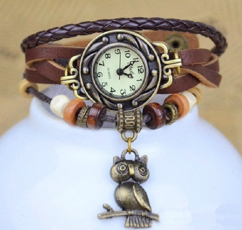OWL Leather Weave Watch & Charm Bracelet