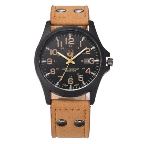 SOKI Military Leather Watch