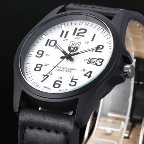 SOKI Military Leather Watch - topnotchloot  - 2