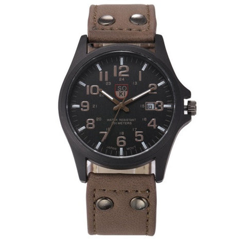 SOKI Military Leather Watch - topnotchloot  - 5