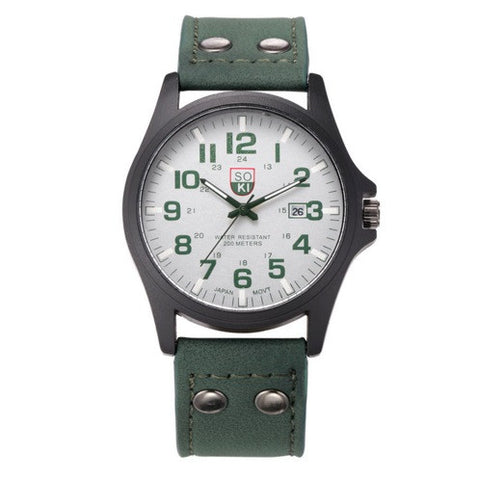 SOKI Military Leather Watch - topnotchloot  - 4