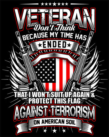 "Veteran Because My Time Has Ended Vinyl Decal Sticker (5"" tall)"