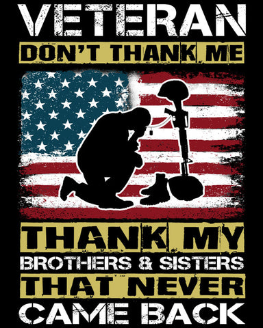 "Veteran Don't Thank Me Vinyl Decal Sticker (5"" tall)"