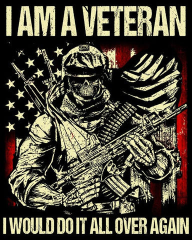 "Veteran I Would Do It All Over Again Vinyl Decal Sticker (5"" tall)"