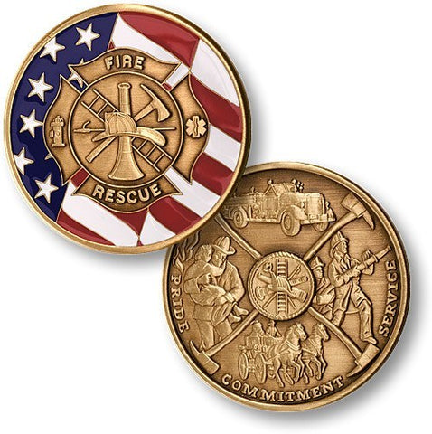 Fire Fighter Maltese Cross with Flag Honorary Coin