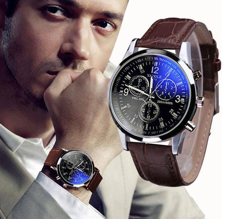 Mens Blue Ray Quartz Watch