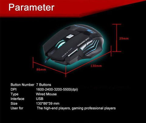 Professional 7 Button Gaming Mouse LED Glow - topnotchloot  - 3