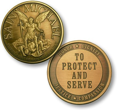 Protect and Serve Saint Michael Challenge Coin - topnotchloot