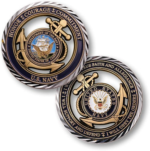 US Navy Core Values Coin