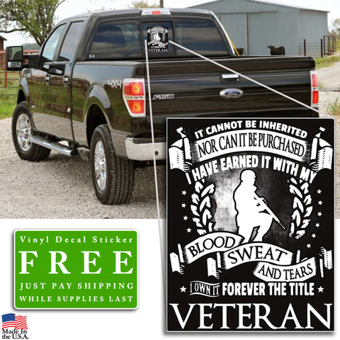 """Forever the Title Veteran"" Vinyl Decal Sticker (5"" tall) - topnotchloot  - 2"