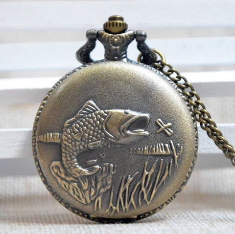 Bronze Fishing Pocket Watch