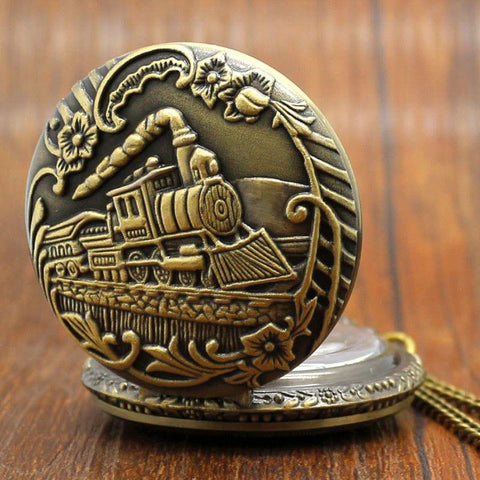 Bronze Train Pocket Watch