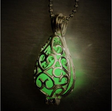 Glow In The Dark Silver Locket with Glowing Stone Pendant - topnotchloot  - 3