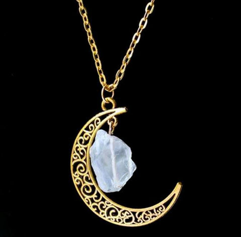 Gold Moon Crystal Necklace - topnotchloot  - 3