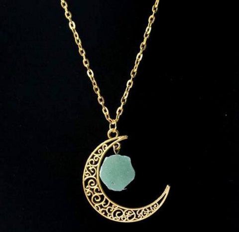 Gold Moon Crystal Necklace - topnotchloot  - 4