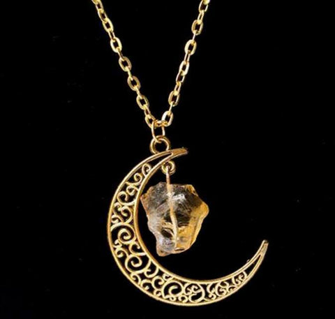 Gold Moon Crystal Necklace - topnotchloot  - 5