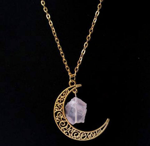 Gold Moon Crystal Necklace - topnotchloot  - 6