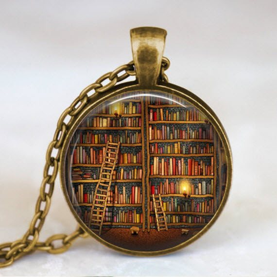 Library and Books Necklace - topnotchloot  - 1