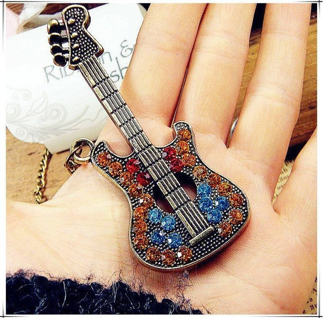 Rhinestone Guitar Necklace - topnotchloot  - 1