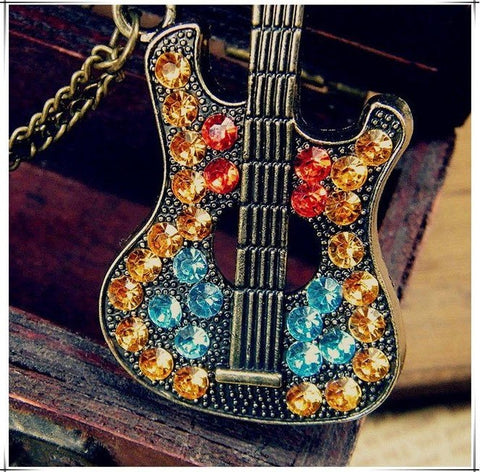 Rhinestone Guitar Necklace - topnotchloot  - 2