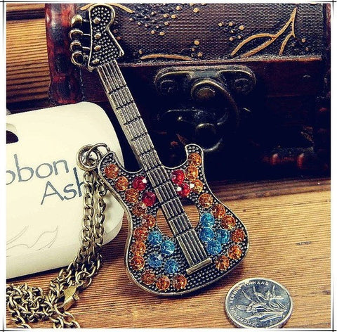 Jewelry - Rhinestone Guitar Necklace