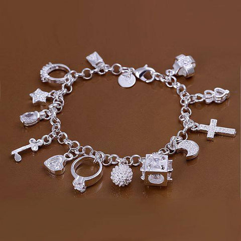 Silver Bracelet with 13 Charms - topnotchloot  - 1