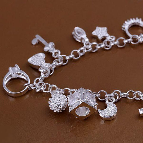 Silver Bracelet with 13 Charms - topnotchloot  - 2