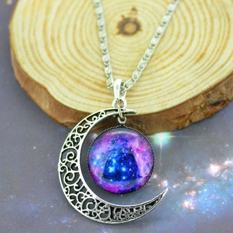 Silver Moon Galaxy Necklace - topnotchloot  - 1