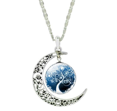 Silver Moon Life Tree Necklace - topnotchloot  - 1